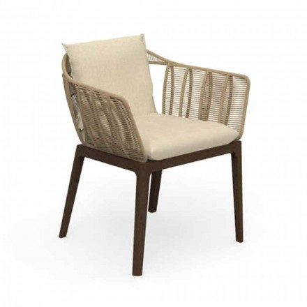 Modern Garden Chair in Teak Wood and Fabric - Cruise Teak by Talenti