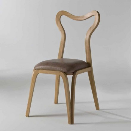 Modern design dining chair Carol in leather and wood, 41x46 cm
