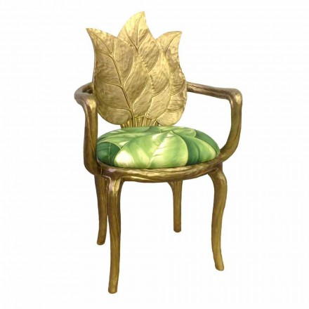 Upholstered modern dining chair Daniel gold finish made in Italy