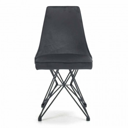 Living Room Chair with Tubular Steel Base Made in Italy, 4 Pieces - Nirvana