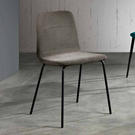 Chair in fabric and metal for living room made in Italy, Egizia