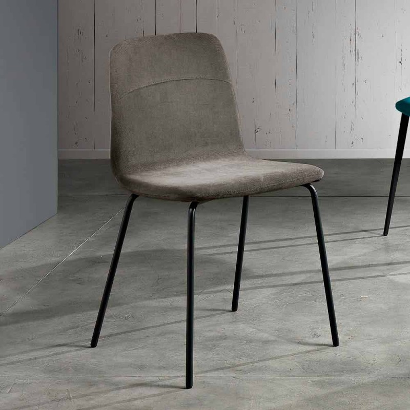 Modern living room chair in fabric and metal made in Italy, Egizia