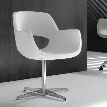 White faux leather designer office chair Michelle