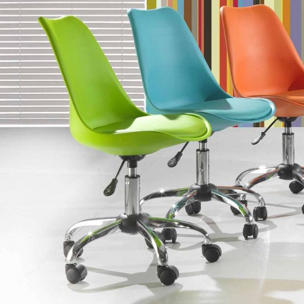 Office Chair in Colored Polypropylene and Metal – Loredana