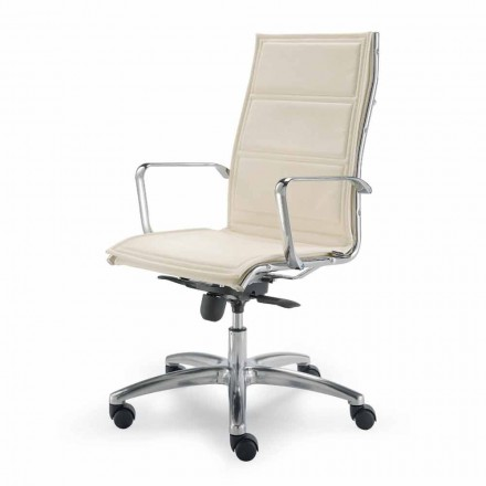 Office faux leather chair with monocoque made in Italy Agata