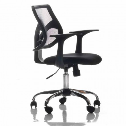 Office Chair with Rotating Wheels, Black and Tissue – Giovanna