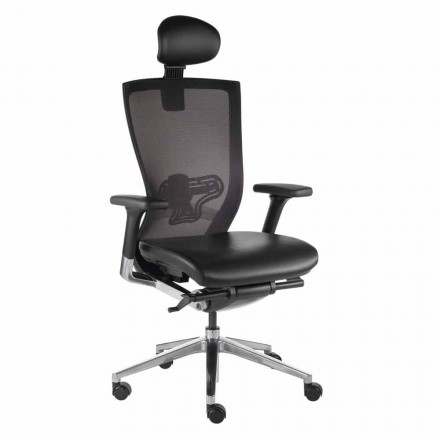 Ergonomic Office Chair with Fabric and Faux Leather Wheels - Takeshi