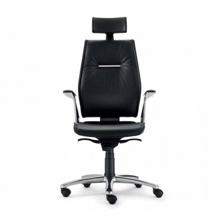 Full grain leather executive office chair Ines, modern design