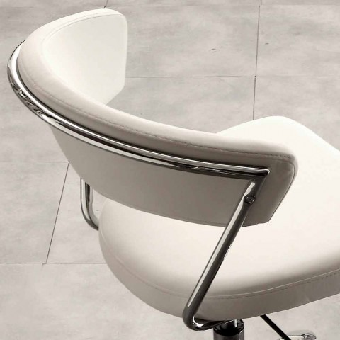 Modern Swivel Office Chair in Faux Leather and Metal - Gaspare