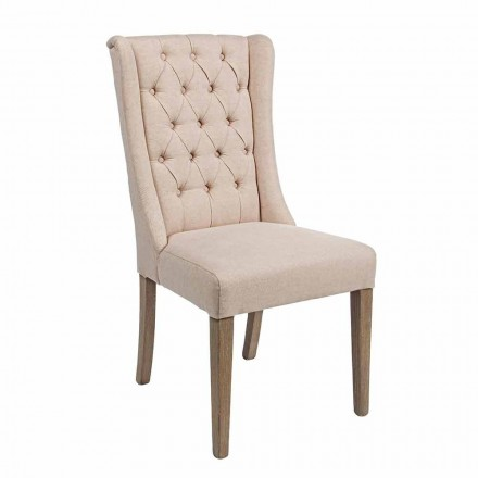Classic Design Chair in Fabric and Oak Wood 2 Pieces Homemotion - Forla