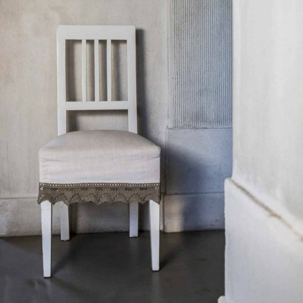Design kitchen chair in white lacquered beech wood, Shirley, 2 pieces