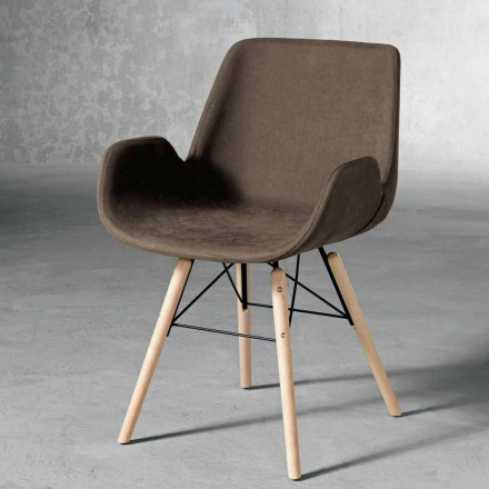 Design chair in wood and textile made in Italy, Ranica