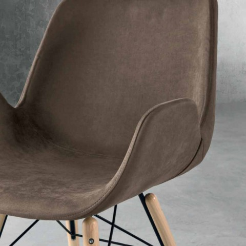 Design chair in wood and fabric made in Italy Ornica