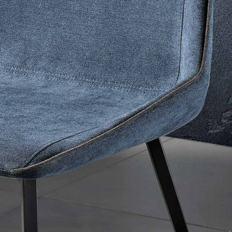 Design chair in fabric with square legs made in Italy, Oriella
