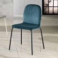 Design chair in velvet and tubular legs made in Italy, Carola