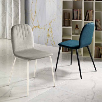 Design chair in velvet and tube legs made in Italy, Carola