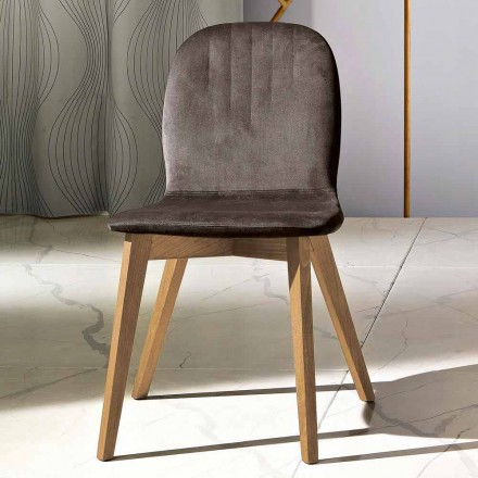 Modern design chair in velvet and wood made in Italy, Carola