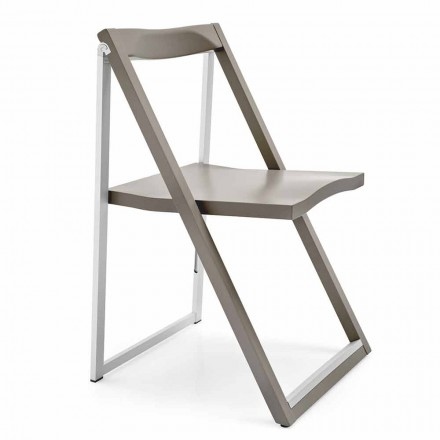 Folding Design Chair in Aluminum and Beech Wood Made in Italy, 2 pieces - Skip