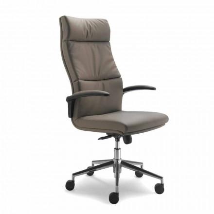 Full grain leather executive office chair Edda, modern design