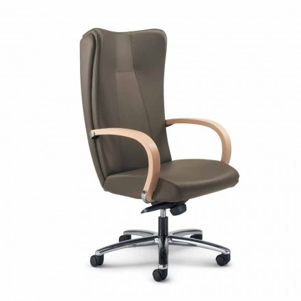 Full grain leather executive office chair Ambra, modern design