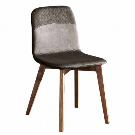 Elegant Chair of Modern Design in Colored Velvet and Wood 4 Pieces - Bizet