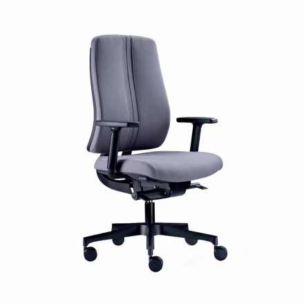Ergonomic Modern Swivel Office Chair in Black Fireproof Fabric - Menaleo
