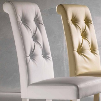 Upholstered Design Chair, with Capitonnè Manufacturing - Diana