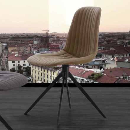 Upholstered modern design chair in eco nubuck and metal, Taranto