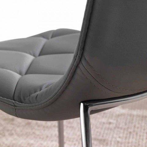 Upholstered chair in black Kelly eco-leather