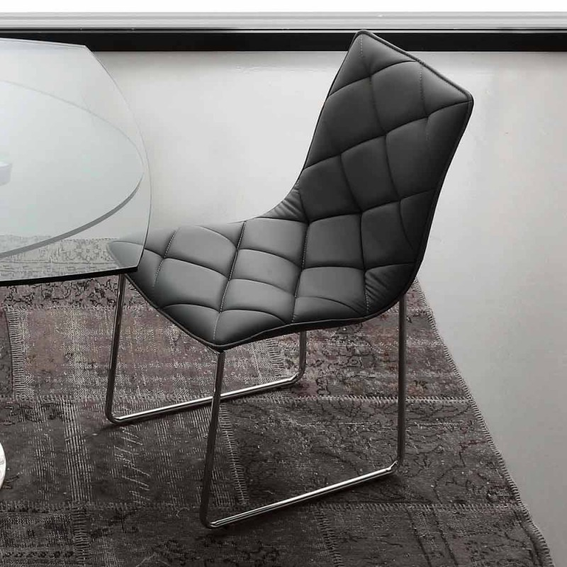 Black faux leather chair Kelly