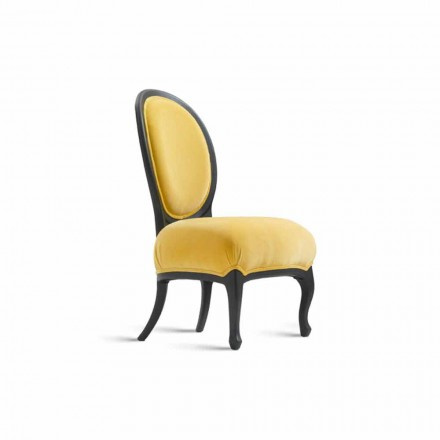 Upholstered chair Tati in black sandblasted solid wood, 60x51cm