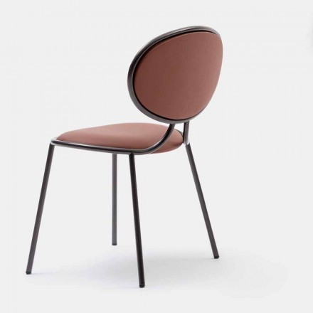 Padded Chair in Leather and Metal Made in Italy - Bonaldo Otto