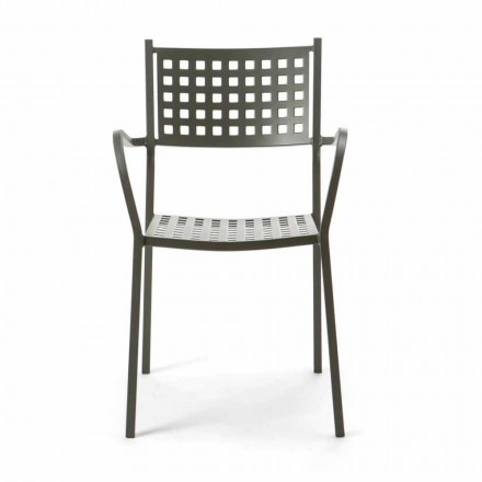 Stackable Outdoor Chair in Painted Metal Made in Italy, 8 Pieces - Lina