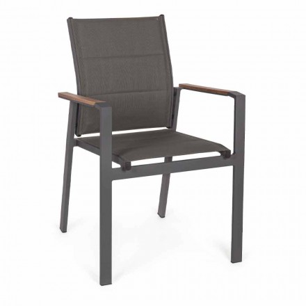 Stackable Outdoor Chair in Textilene and Anthracite Aluminum, 6 Pieces - Urban