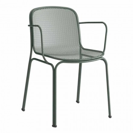Stackable Outdoor Metal Chair Made in Italy, 4 Pieces - Verna