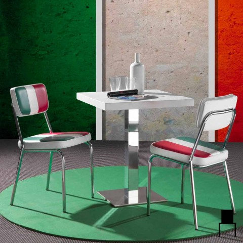 Faux leather chair with Italian flag of Banda design