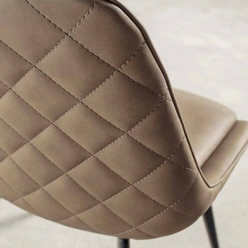 Nabuk Effect Faux Leather Chair, Metal Frame - Ermes