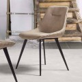 Eco-leather chair Nabuk effect with metal structure – Ermes