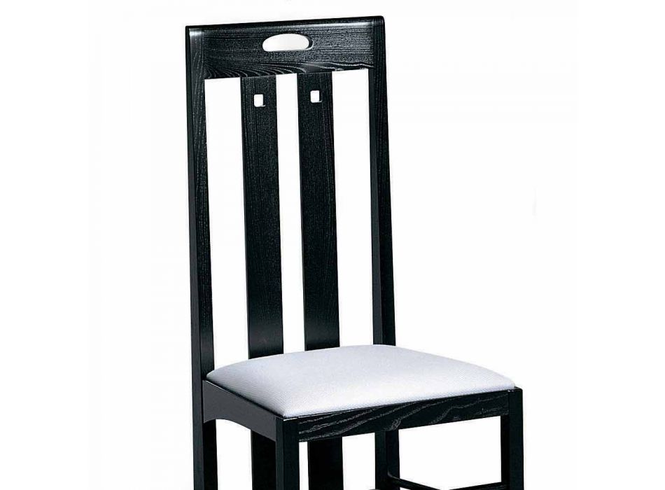 Chair in Black Ash with Seat Covered in Cotton Made in Italy - Vulcano
