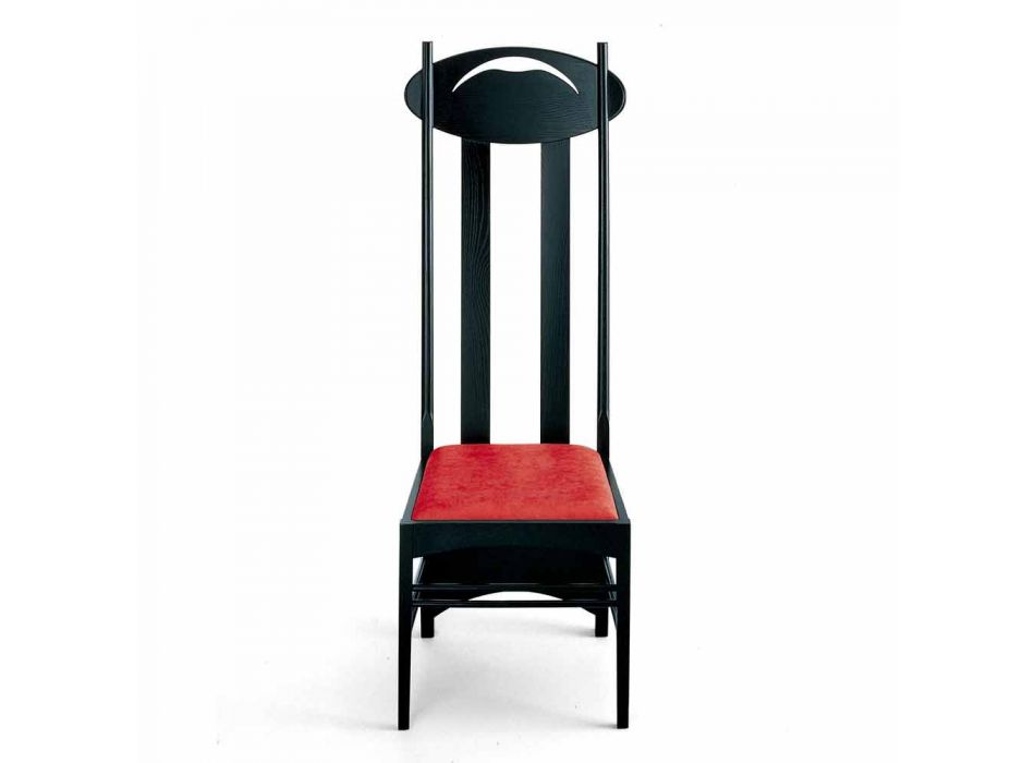 Black Painted Ash Chair with Padded Seat Made in Italy - Servillo