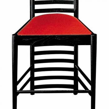 Chair in Black Painted Ash with Seat in Cotton Made in Italy - Merapio
