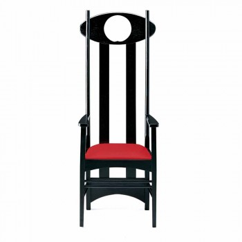 Chair in Black Painted Ash and Cotton with Armrests Made in Italy - Nango