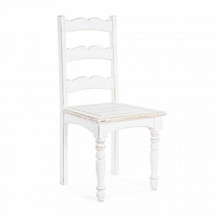 Homemotion Classic Design Solid Mango Wood Chair - Blanche