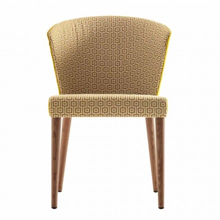 Modern upholstered solid wood chair Grilli York made in Italy, 2 pieces