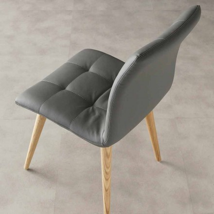 Modern design chair Viola, eco-leather upholstery and wooden legs