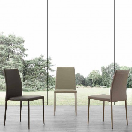 Modern design metal chair upholstered with eco-leather Caserta