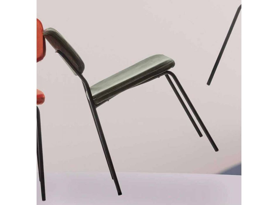 Chair in Painted Metal and Upholstered in Velvet - Bove