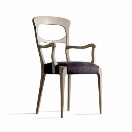 Dining chair Noemy with armrests, Canaletto walnut wood & fabric seat