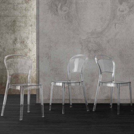 Modern design transparent polycarbonate chair, made in Italy Ferrara