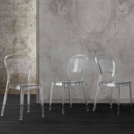 Modern design transparent polycarbonate chair, made in Italy Ferrara